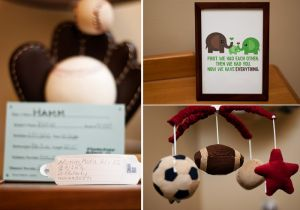 Sports theme nursery - with JJ's hospital information!
